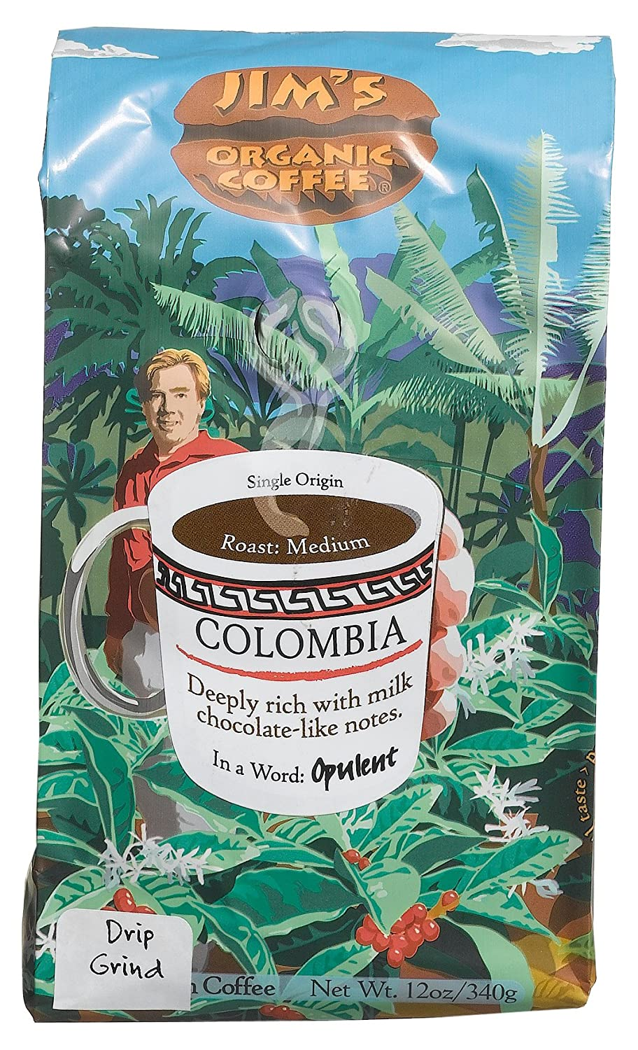 Jim's Organic Coffee Colombian Whole Max 41% OFF Max 41% OFF Pa Bean 12-Ounce Packages