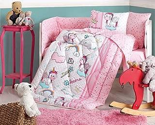 DecoMood Unicorn - 100% Cotton Nursery Crib Set for Baby Girls, 6 Pieces Baby Comforter/Quilt Set with Crib Bumper, Comforter, Crib Sheet, Pillowcases