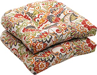 """Pillow Perfect Outdoor/Indoor Zoe Citrus Tufted Seat Cushions (Round Back), 19"""" x 19"""", Green, 2 Pack"""