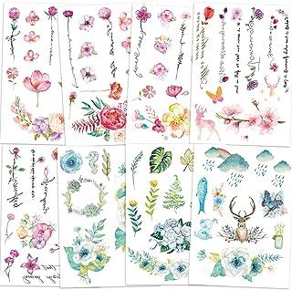 Qpout Blumen Temporäre Tattoos für Frauen Mädchen Kinder,