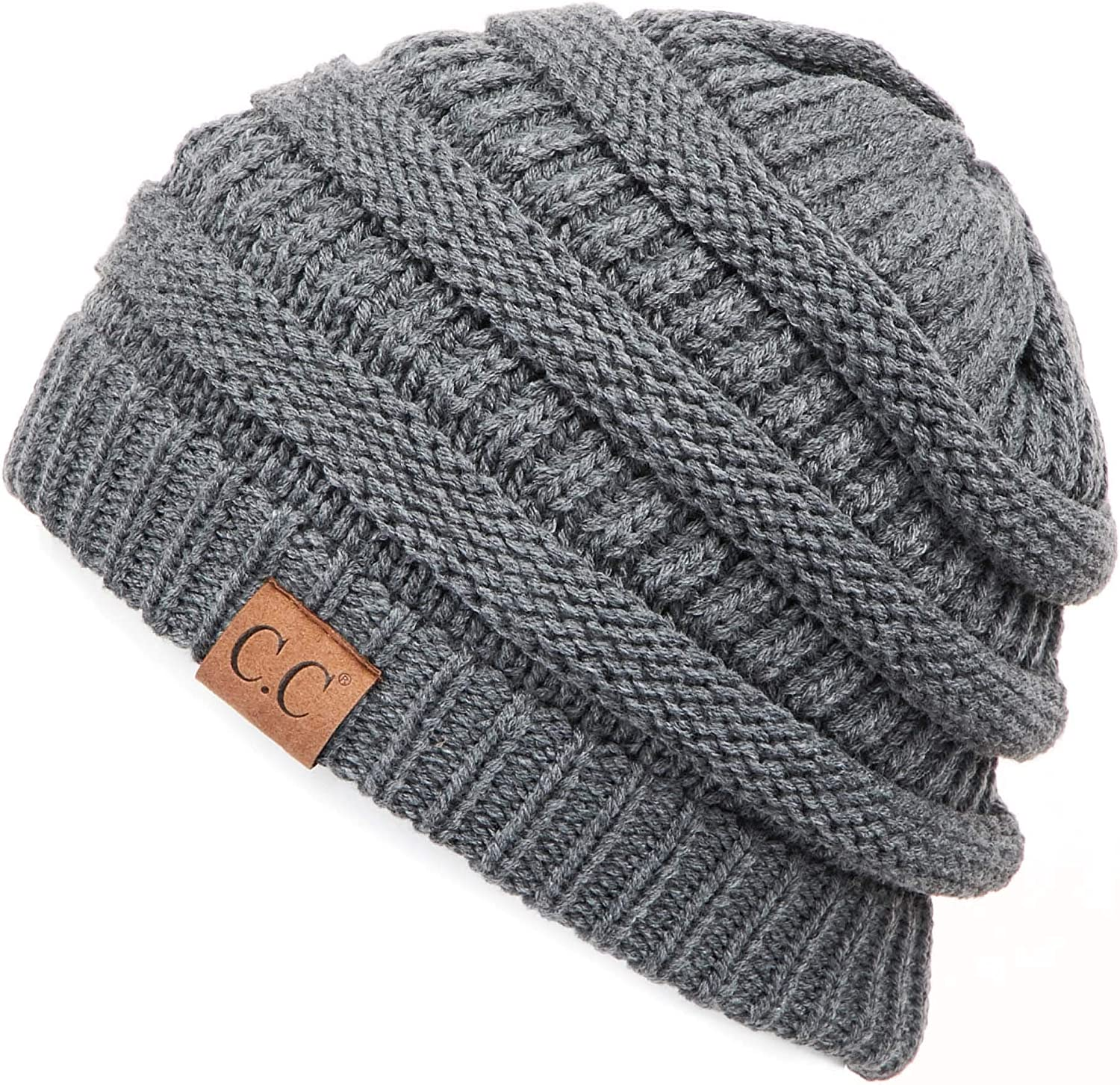 C.C Hatsandscarf CC Exclusives Unisex Soft Stretch Solid color Fuzzy Lined Beanie Hat (HAT25) (Dk. Mel Grey)