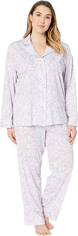 Plus Size Knit Notch Collar Pajama Set