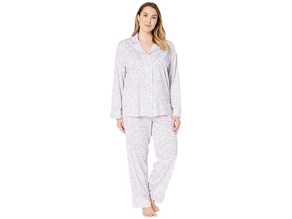 LAUREN Ralph Lauren Plus Size Knit Notch Collar Pajama Set (Multi Floral Print) Women