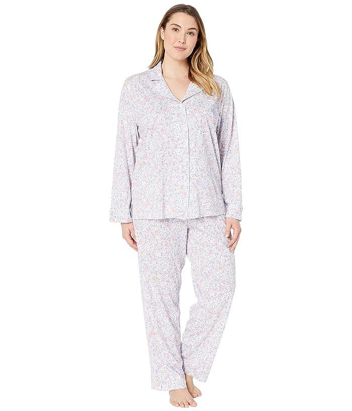 LAUREN Ralph Lauren Plus Size Knit Notch Collar Pajama Set (Multi Floral Print) Women
