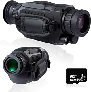 Pinty Infrared Night Vision Monocular 35mm Monocular Sight with 5X Optical 8X Digital Magnification IR Camera w MicroSD Ca...