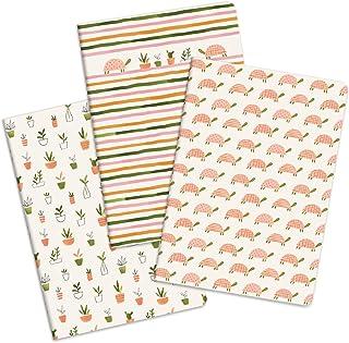 "Notebook Trio by Studio Oh! - مجموعه 3 - باغ لاک پشت - 5.75 "".2 8.25"" - 3 طرح جلد کارتن هماهنگ - 80 صفحه دارای صف - برای مدرسه ، محل کار"