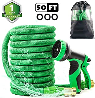 50ft Retractable Upgraded Garden Hose All New 2019 Perfect Leak-Proof 3/4 Solid Brass Fitting Easy Storage with 9Function High Pressure Lightweight Watering Spray Nozzle Flexible Expandable Hose