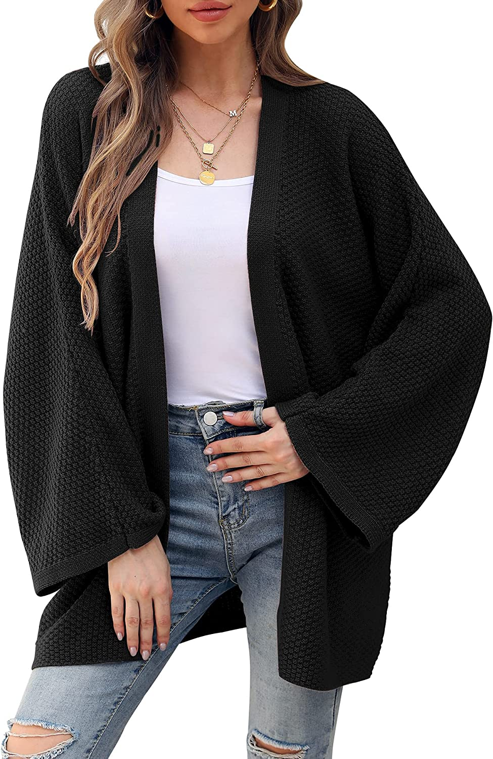 Women's Batwing Sleeve Kimono Cardigan Open Front Crochet Knit Sweater Coat Solid Loose Oversized Cover Up Casual Blouse Tops