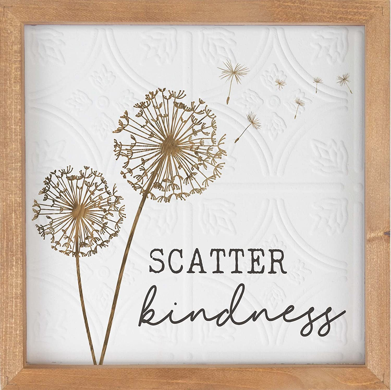 P. GRAHAM DUNN Scatter Kindness Dandelion 12.5 x 12.5 Inch Pine Wood Framed Textured Wall Plaque