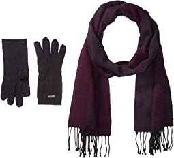 Calvin Klein - Two-Piece Woven Border Scarf, Knit Touch Gloves