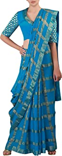 ROYAL COUTURE Jaipuri Fashion Women's Banarasi Zari Checks Gharchola Saree with Banarasi Border (Turquoise)