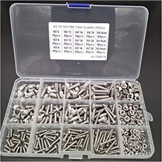 Screw M2 M3 M4 M5 M6 Hex Button Socket Head Cap Screw Nut Hexagon Metric Thread Machine Bolt Assortment Kit Set 304 Stainl...