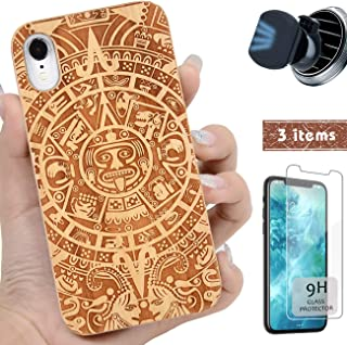 iProductsUS Wood Totem Phone Case Compatible with iPhone Xs MAX,Magnetic Mount and Screen Protector-Engrave Mayan Calendar,Compatible Wireless Charger,Built-in Metal Plate,TPU Protective Cover(6.5