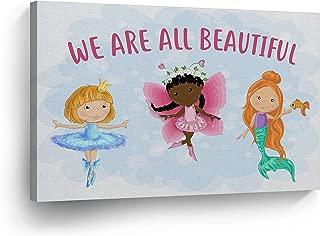 Blonde Ballerina African American Art Fairy Redhead Mermaid Diversity Kids Canvas Print Kids Room Decor Metal Wall Art Nursery Decor -%100 Handmade in The USA- 8x12
