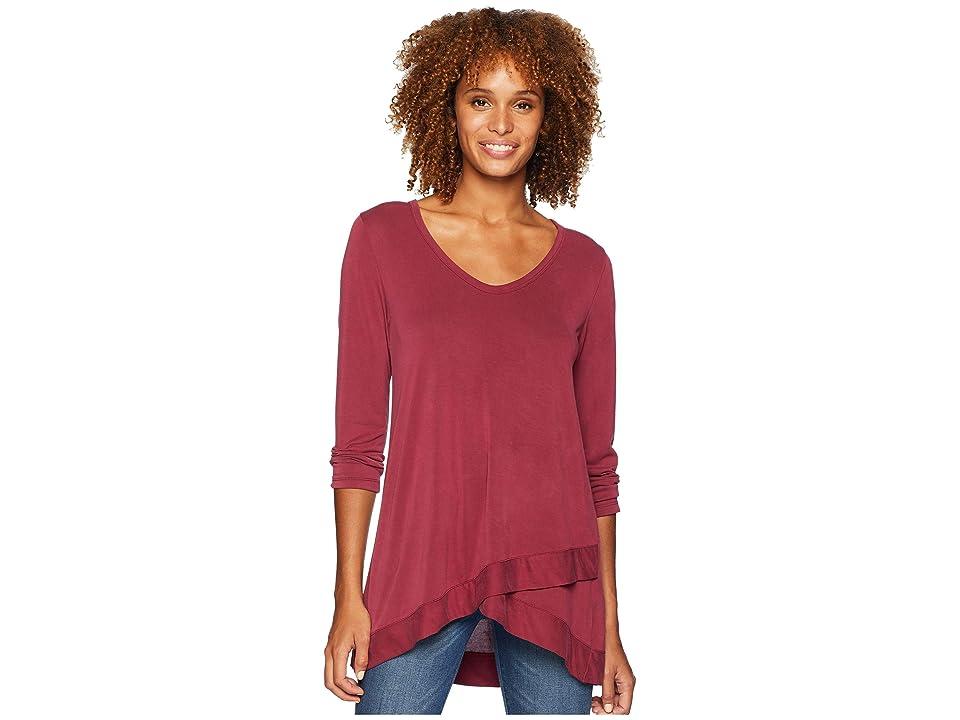 Mod-o-doc Sandwashed Modal Jersey 3/4 Sleeve Crossover Hem Tee (Cranberry) Women