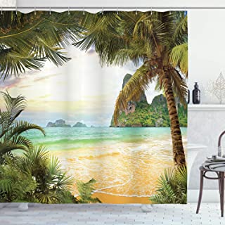 Ambesonne Ocean Shower Curtain, Palm Coconut Trees and Ocean Waves Mountains on Paradise Island Beach Image, Cloth Fabric Bathroom Decor Set with Hooks, 70