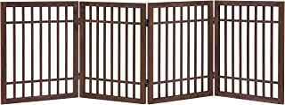 MyGift 4-Panel Coffee Brown Wood Decorative Outdoor Folding Screen Fence