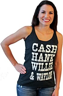 Tough Little Lady Womens Graphic tee Cash Hank Waylon & Willie Country blk Tank