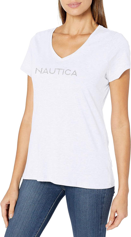 Nautica Women's Easy Comfort Supersoft 100% Cotton Classic Logo T-Shirt