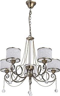MW-Light 372013405 Lustre Suspension Moderne à 5 Lampes en Métal couleur Bronze Antique décoré de Cristaux Abat-jours en B...