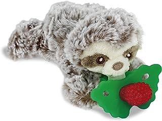 RaZbaby RaZbuddy RaZberry Teether/Pacifier Holder w/Removable Baby Teether Toy - 0M+ - Bpa Free - Sloth