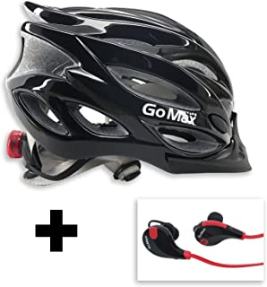 GoMax Aero Adult Safety Helmet Adjustable Road Cycling Mountain Bike Bicycle Helmet Ultralight w/Rear LED Tail Light Bundle with Bluetooth Stereo Headset