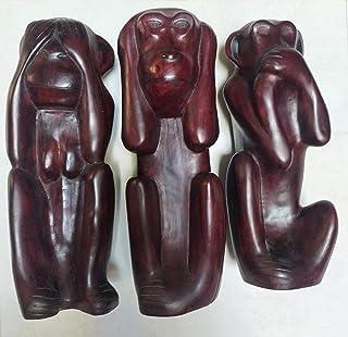 3 belle scimmie simbolo di saggezza in legno di cedro, 3 scimmie di legno per la decorazione, scimmie Arte