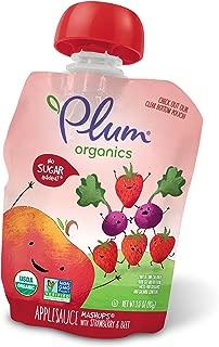 Plum Organics Mashups, Organic Kids Applesauce, Strawberry & Beet, 3.17 ounce pouch, 4 count (Pack of 6)