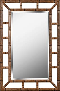 Kenroy Home Aviary Rectangular Wall Mirror, Coastal, Medium Brown Bamboo Finish, 40 26-inches, Easy Hang D-Rings Included, 40 Inches by 26 Inches, Bronze