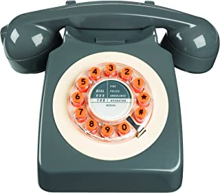 Wild Wood Rotary Design Retro Landline Phone for Home, Concrete Grey