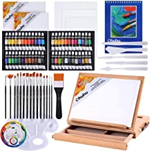 Acrylic Painting Set, Ohuhu 78pcs Artist Set with Wood Table-Top Easel Box, Art Painting Brushes, Acrylic Paint Tubes, and...