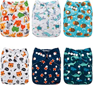 Babygoal Baby Reusable Cloth Diapers, Adjustable Pocket Nappy 6pcs Diapers+6pcs Microfiber Inserts+4pcs Bamboo Inserts 6FB12