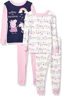 Peppa Pig Girls' Toddler 4 Piece Cotton Pajama Set