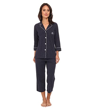 LAUREN Ralph Lauren Essentials Bingham Knits Capri PJ Set (Madeleine Dot Windsor Navy/White) Women