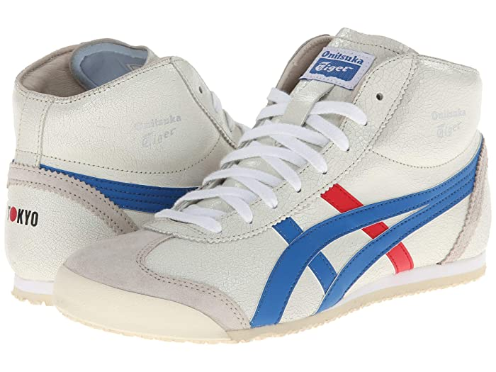 Vintage Sneakers, Retro Designs for Women Onitsuka Tiger Mexico Mid Runner WhiteBlue Athletic Shoes $130.00 AT vintagedancer.com