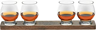 Libbey Signature Kentucky Bourbon Trail Whiskey Tasting Set, 4 Whiskey Glasses with Wood Paddle