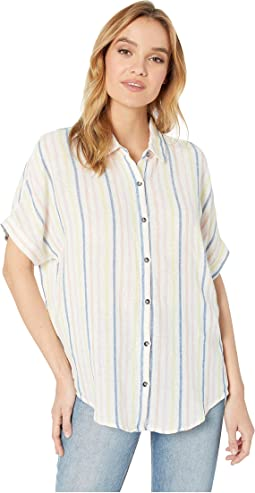 Short Sleeve Stripe Button Up