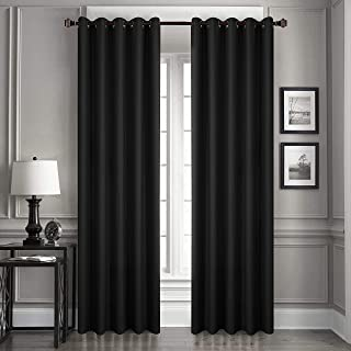 Dreaming Casa Solid Blackout Curtain for Bedroom 96 Inches Long Draperies Window Treatment 2 Panels Black Grommet Top 2(52