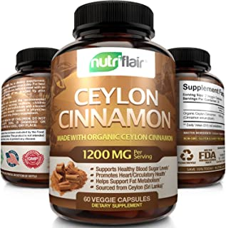 NutriFlair Ceylon Cinnamon (Made With Organic Ceylon Cinnamon) 1200Mg Per Serving, 60 Capsules - Healthy Blood Sugar Support, Joint Support, Anti-Inflammatory & Antioxidant - True Sri Lanka Cinnamon