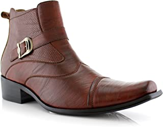 Men's Buckle Strap Ankle High Dress Boots Shoes