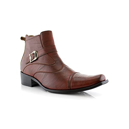 Delli Aldo Mens Buckle Strap Ankle High Dress Boots Shoes