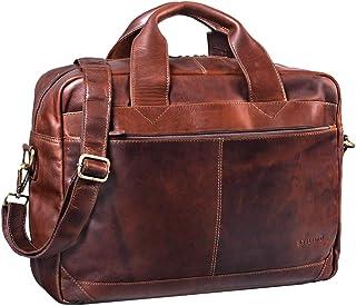 """STILORD Amadeus"""" Lehrertasche Leder XL Vintage Aktentasche Herren Damen große Umhängetasche DIN A4 mit 15.6 Zoll Laptopfach für Schule Uni Arbeit Echtleder"""