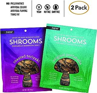 Shrooms Vegan Mushroom Jerky   Superfood, Low Fat Snack Made with Fresh Mushrooms   Variety Pack, Roasted Teriyaki + Original Portabella