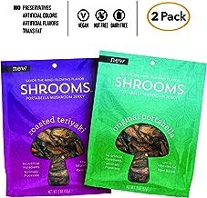 Shrooms Vegan Mushroom Jerky | Superfood, Low Fat Snack Made with Fresh Mushrooms | Variety Pack, Roasted Teriyaki + Original Portabella