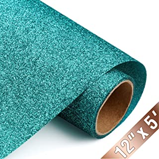 Glitter Heat Transfer Vinyl HTV Rolls 12inx5ft, Iron on HTV Vinyl Compatible with Silhouette Cameo & Cricut by TransWonder (Teal)