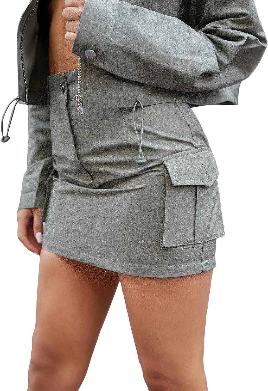 Floerns Women's Casual Summer High Waist Flap Pocket Side Mini Skirt