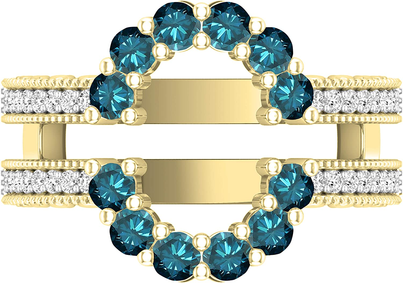 Dazzlingrock Collection Round Gemstone & White Diamond Ladies Enhancer Guard Double Wedding Ring, 10K Yellow Gold