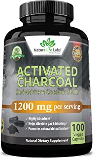 NaturaLife Labs Organic Activated Charcoal Capsules - 1,200 mg Highly Absorbent Helps Alleviate Gas & Bloating Promotes Na...