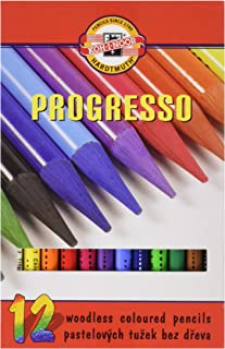 Koh-I-Noor Progresso Woodless Coloured Pencils - 12 Colours
