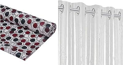 Kuber Industries PVC Wardrobe Kitchen Drawer Shelf Mat 10 Mtr Roll (Brown), CTKTC013558 & PVC 1 Piece Eyelet 30 Mm Ac Curtain 7 Feet (Transparent)(54X84 Inch)- CTKTC5670 Combo